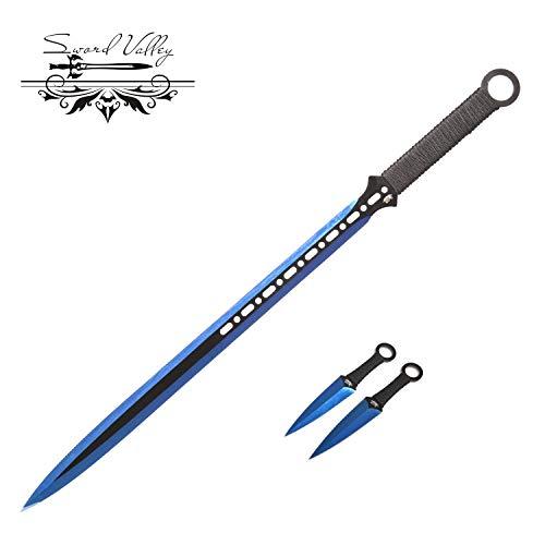 Sword Vally Dolch,Klappmesser,Sharp Jagdmesser,Ninja-Schwert, Taktisches Messerset mit Scheide, 3Cr13 High-End-Edelstahl, Dolch-Katana-Messer, Blue Lightning Style