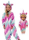 Unicorn Onesie Costume Matching Doll & Girls Gifts (Soft rose starlight, 7-8 Years)