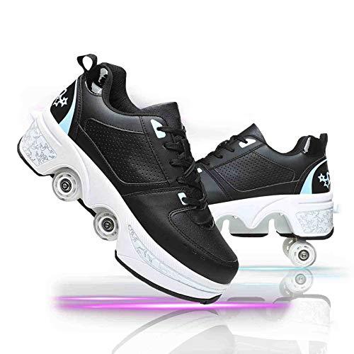 Zapatillas con Ruedas Automática Calzado De Skateboarding Zapatillas De Skate con Ruedas Patines En Línea para Adultos Y Niños,Black+Blue,40