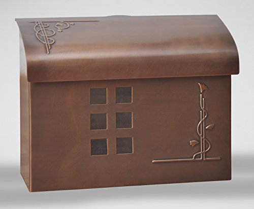 Ecco E7 Arts and Crafts Mailbox - Large Brass Wall Mount Mailbox - 6 Finishes Available (Antique Copper)