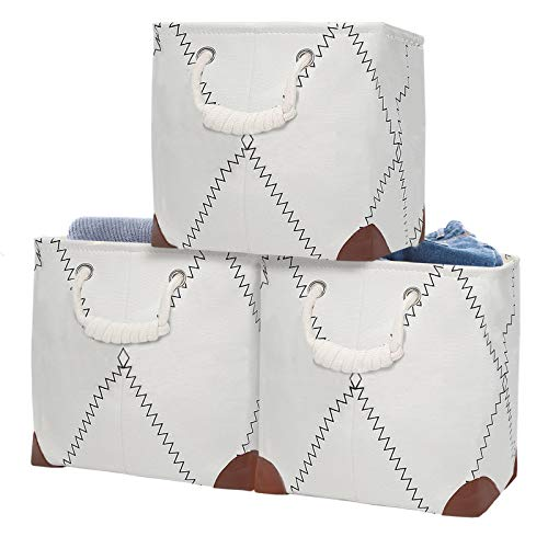Fabric Storage Cube Organizer Bins 3 Pack - 11 x 11 inch Sturdy Storage Basket with Handles forToys, Clothes, Towels, Decorative Foldable Closet Storage Bin for Organizing Shelves Nursery Home Office