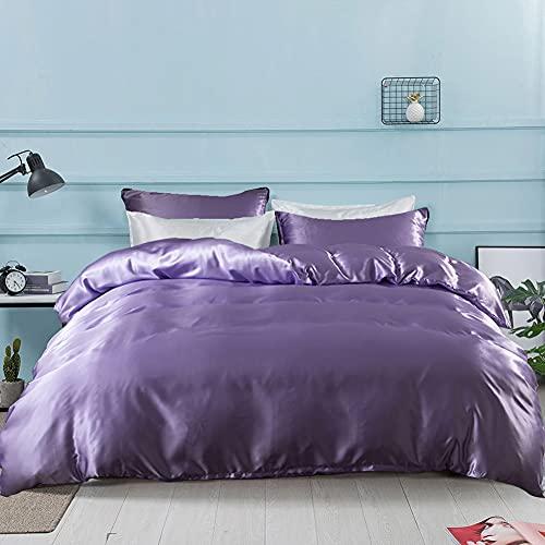 AShanlan Juego de ropa de cama de satén, 135 x 200 cm, color lila, 100% liso, satén brillante, 1 funda nórdica de 135 x 200 cm y 1 funda de almohada de 80 x 80 cm