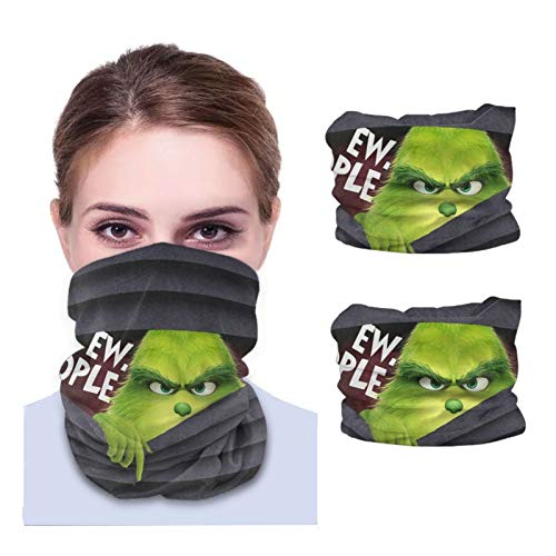 2pcs Grinch Ew People Neck Gaiter Face_Mask For Women, Funny Design Patterned Face Covers Outdoor Sport Bandana Scarf Balaclava For Men Unisex