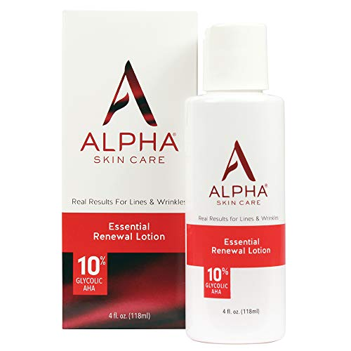 Alpha Skin Care Essential Renewal Lotion | Anti-Aging Formula | 10% Glycolic Alpha Hydroxy Acid (AHA) | Reduces the Appearance of Lines & Wrinkles | For Normal to Dry Skin | 4 Oz