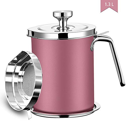 Bacon Grease Container, 304 Stainless Steel Grease Keeper, 1.3L Oil Storage Pot with Fine Mesh Strainer, Kitchen Cooking or Frying Oil (Pink)