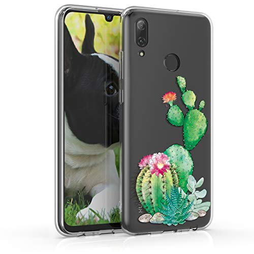 kwmobile Case kompatibel mit Huawei P Smart (2019) - Hülle Handy - Handyhülle - Kaktus Blüte Grün Pink Transparent