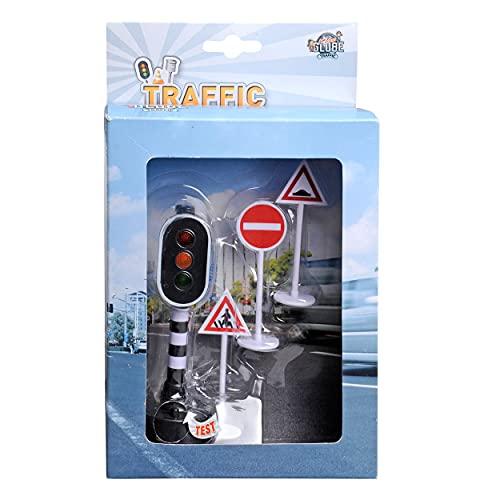 Série de route – Feux de circulation avec 3 panneaux de signalisation.