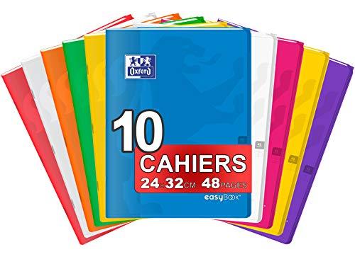 OXFORD EasyBook Lot de 10 Cahiers Agrafés Grands Formats 24 x 32cm 48 Pages Grands Carreaux Seyès 90gr Couleurs Assorties