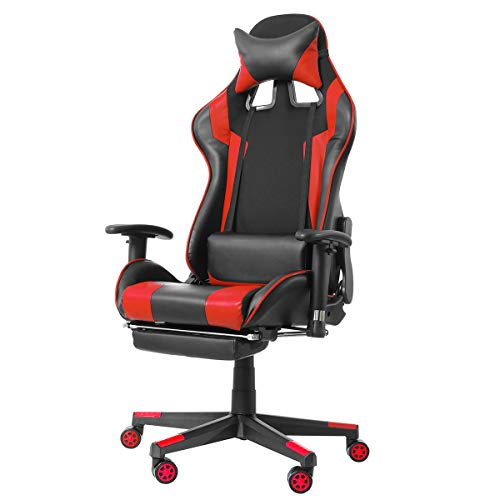 KingSo Gaming Chair 160 Degrees Adjustable High Back Racing Gaming Chair Office High Back Ergonomic Recliner PU Leather Footrest(Red)