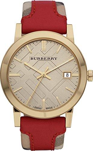 Luxuriöse Schweizer Gold-Armbanduhr, Unisex, The City Collection, kariert, echtes Leder, beige, Datumsanzeige, BU 9017