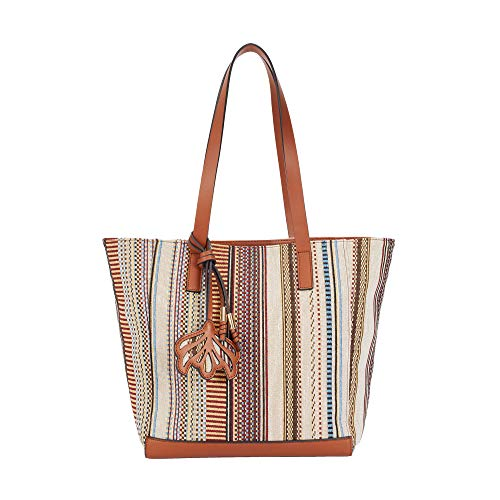 Parfois - Bolso Shopper Tejido Hilo Multicolor - Mujeres - Tallas L - Camel