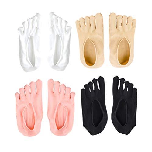 Supvox 4 Pares de Calcetines de Yoga Antideslizantes Calcetines de Cinco Dedos Calcetines Antideslizantes Pilates Barre Ballet Calcetines de Fitness Dance Calcetines con Empuñaduras para