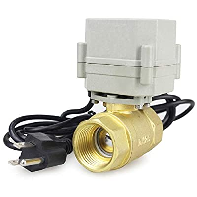 "HSH-Flo 1/2"" 3/4"" 1"" 110-230VAC Normally Closed/Open CF8/Stainless Steel 304 Motorized Electrical Ball Valve with U.S. Plug (1 Inch Brass, Normally Closed) from HSH-Flo"