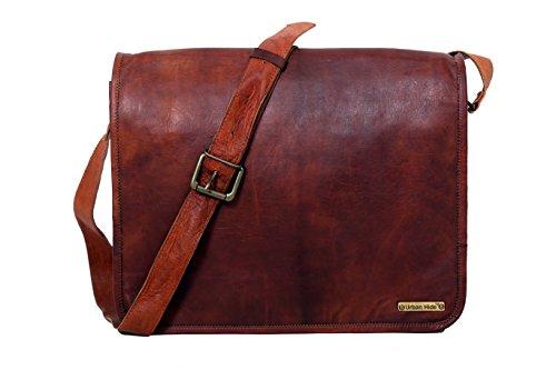 Urbankrafted Handmade Echtes Leder Vollklappe Messenger handgefertigte Tasche Laptop Tasche Messenger Bag Satchel