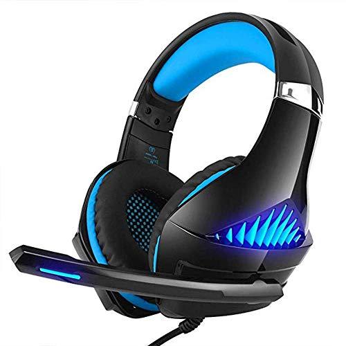 EAHKGmh Casque d'écoute, Casque d'écoute avec atténuation du Bruit avec Micro, Son Surround stéréo, Lumière LED, for PS4, Ordinateur Portable PC, Tablette (Color : Blue)