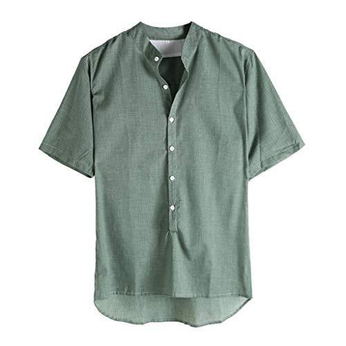 Xmiral T-Shirt Herren Kurzärmeliges Knopf Shirt V-Ausschnitt Oberteile Atmungsaktives Sportshirt Komfortables kurzärmliges Funktionsshirt(Grün,4XL)