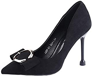 [ブウケ] レディースパンプス 靴 美脚 大人 通勤 22.5cm レッド 黒 ハイヒール 安定して歩きやすい 疲れにくい 着痩せ きれいめ 無地 ヒール9cm 黒色 おしとやか