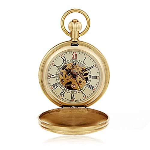 SKYEI Reloj de Bolsillo Elegante clásico.Reloj de Bolsillo y Cadena de Relojes de Bolsillo, Tren Vintage Tallado a la máquina de alambeles, como el día del Padre/un Regalo/Aniversario/Navidad,