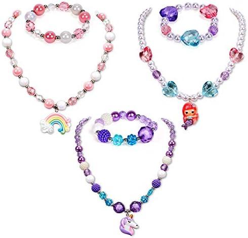 G C 3 Sets Girl Princess Necklace Bracelet with Colorful Unicorn Mermaid Rainbow Pendant Kids product image