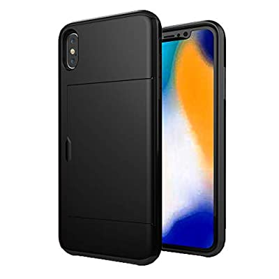 """HONTECH Compatible iPhone Xs Max 6.5"""" 2018 Case, Slim Fit Hybrid Dual Layer Wallet Card Slot Holder Shell Shockproof Cover"""