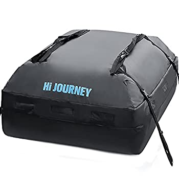 rabbitgoo Rooftop Cargo Carrier Waterproof Car Roof Top Cargo Bag with Heavy Duty Straps Soft Shell Luggage Storage Bag for Vehicles with/Without Roof Racks Large Capacity 15 Cubic Feet