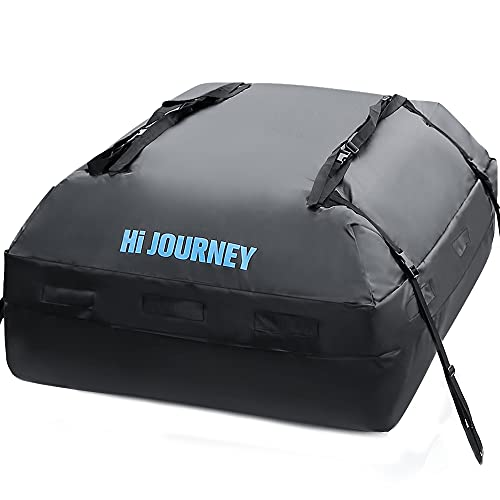 rabbitgoo Rooftop Cargo Carrier Waterproof Car Roof Top Cargo Bag with Heavy Duty Straps, Soft Shell Luggage Storage Bag for Vehicles with Without Roof Racks, Large Capacity 15 Cubic Feet