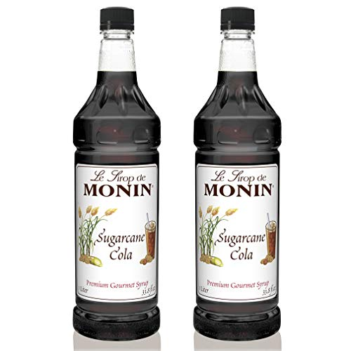 Monin - Sugarcane Cola Syrup, Authentic Cola Flavor, Great for Soda, Floats, and Slushes, Vegan, Gluten-Free (1 Liter, 2-Pack)