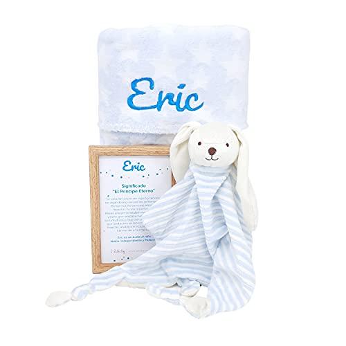 Mi Alegría Mabybox – Canastilla para bebé personalizada con doudou conejito y mantita de estrellas con el nombre del bebé – Regalo personalizado para Recién Nacidos. (Azul)