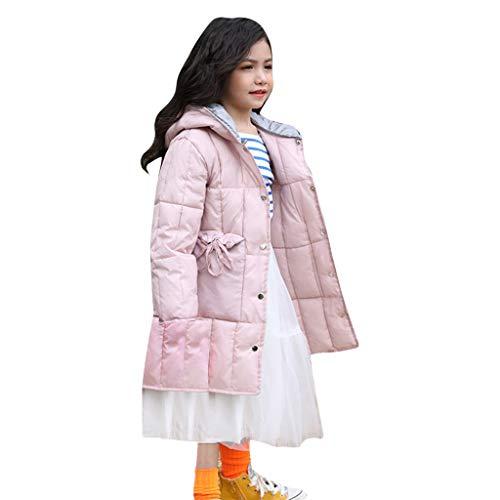 Dasongff winterjack voor meisjes, verdikking, kleur bontkraag, donsjack, lange winterjas, capuchon, outwear, kinderritssluiting, coat warme kleding 3-12T