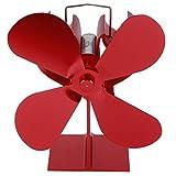 AMONIDA Ventilador para Chimenea, sin Electricidad Ventilador para Chimenea Calentado por Calor, Rojo Ventilador para Chimenea Ventilador de leña para Restaurante Hogar