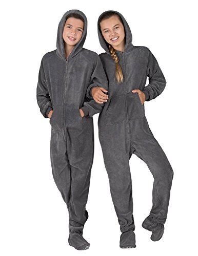 Footed Pajamas - Howling Moon Kids Hoodie Chenille Onesie (Kids - Small (Fits 4'2-4'5')) Gray