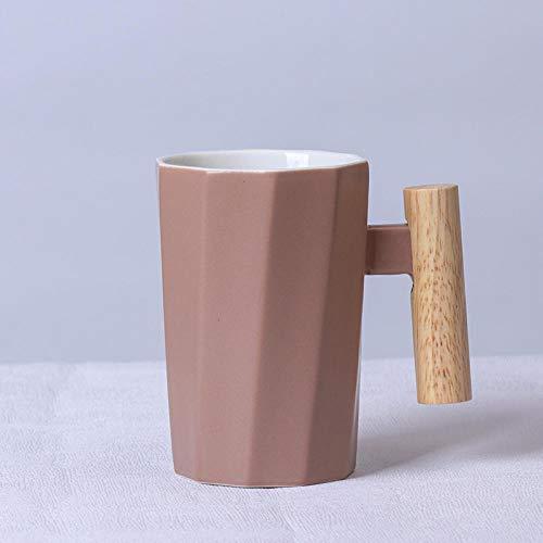 LongBin Taza De Café De Cerámica con Mango De Madera De 380 Ml, Taza De Té De Leche para El Hogar Poligonal Creativa para Regalo, Rosa