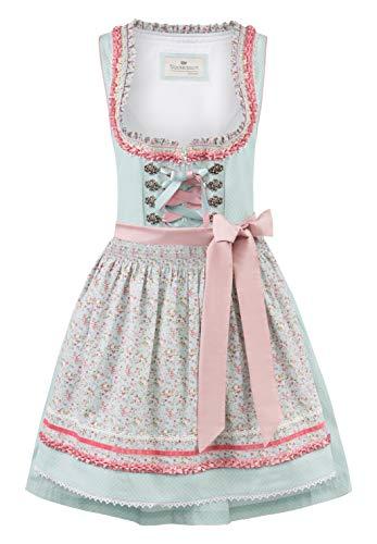 Stockerpoint Damen Dirndl Katrin Kleid für besondere Anlässe, Mint-Flower, 44