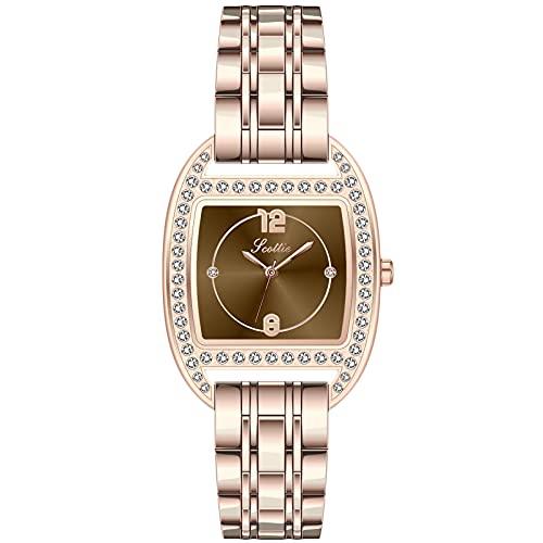 RORIOS Relojes Mujer Impermeable Analogico Relojes con Banda de Acero Inoxidable Relojes de Pulsera Moda Vestir Relojes para Mujer Damas