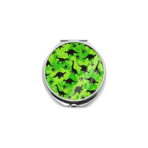 Best Travel Mirror Neon Dinosaur Dinosaur Camouflage Round Magnifying Mirror Small Compact Mirror for Pocket, Portable Makeup Mirror, Foldable Travel Personal Mirror 1x & 2X Magnification