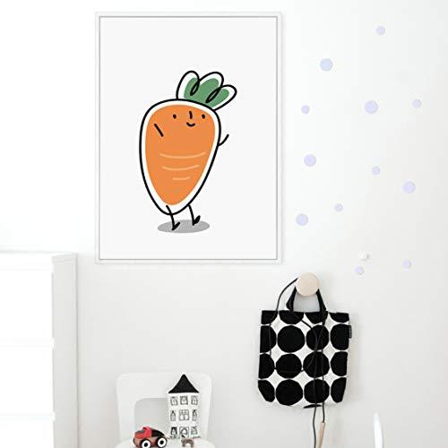 Danjiao Elegancka poezja warzywa kreskówka, kapusta bakłażanowa, płótno, malarstwo, druk artystyczny, obraz, obrazy na ścianę, do sypialni, salonu, 40 x 60 cm