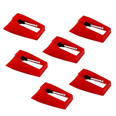 LUTER 6 Pieces Record Player Needle Turntable Needles Record Player Stylus Record Player Needle Replacement Accessories for Vinyl Record Player (Red)