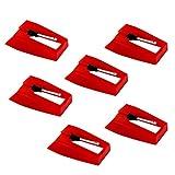 LUTER 6 Piezas Aguja de Repuesto - Agujas de Tocadiscos Tocadiscos Stylus Tocadiscos Accesorios de Reemplazo de Agujas para Tocadiscos de Vinilo - Rojo