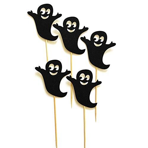 Ruda 5 Stück Cupcake Toppers Halloween Spooky Geist Kuchen Papier Topper Für Party Geburtstag Liefert Baby Dusche DIY Dekor Schwarz