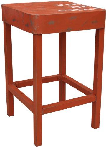 Guru-Shop Staande Tafel, Bijzettafel in Gelakt Metaal - Oranje, 110x71x71 cm, Eettafels Keukentafels