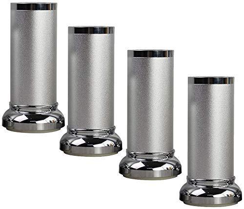 Patas para muebles de 4 piezas, patas de aluminio para mesa de té, altura ajustable hacia arriba y hacia abajo, capacidad de carga de 800 kg, accesorios para muebles de bricolaje (plateado, 10 cm / 4