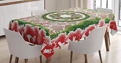 ABAKUHAUS Natale Tovaglia, Abete Corona Ornamenti, Rettangolare Per Sala Da Pranzo E Cucina, 140 X 240 Cm, Multicolore