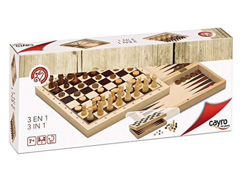 Cayro - Ajedrez/Damas/Backgammon 3 en 1— Juego de observación y lógica - Juego Mesa - Desarrollo de Habilidades cognitivas e inteligencias múltiples - Juego Tradicional (648)