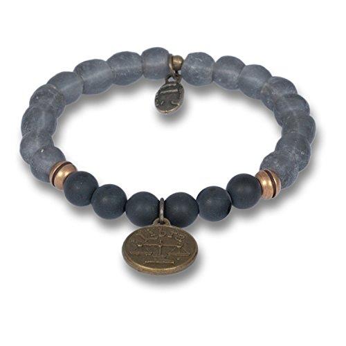 Anisch Hombre herenarmband weegschaal - Signs of Zodiac sterrenbeeld armband van onyx & krobo kralen African Soul - artnr. 4440-i