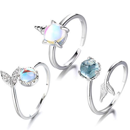 Meerjungfrau Ring,Party Silber Farbe Ringe,Meerjungfrau ring kinder,Schwesterring Verstellbar,meerjungfrau ring silber,Meerjungfrau Halskette Ring,Meerjungfrau Schmuck (Meerjungfrau 3)