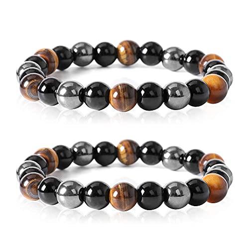 Pulsera de triple protección de 2 piezas, pulseras de piedra de ojo de tigre de obsidiana negra hematita, trae suerte y prosperidad Unisex 19cm