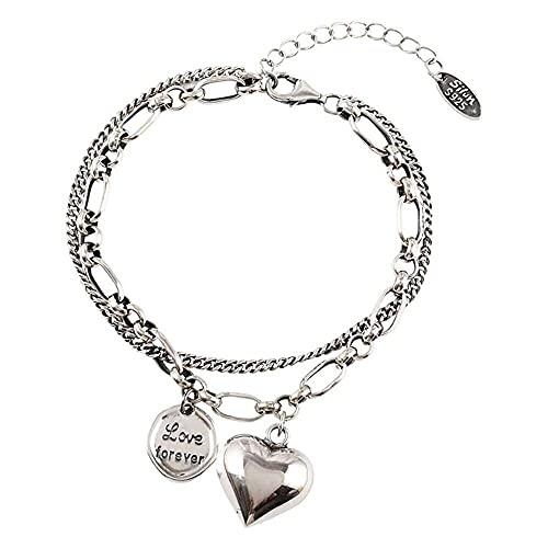 chaosong shop Personalidad de lujo doble capa encanto corazón pulseras amor carta tailandesa plata retro moda joyería brazalete mujeres regalos