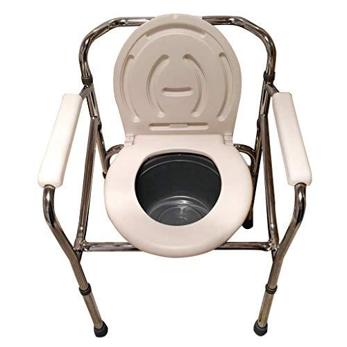 Kommodenstuhl, Toilettenstuhlhöhe Verstellbarer Sitz Klappbarer Nachttisch Kommodenstuhl mit Sicherheitsstahlrahmen, werkzeuglose Montage,
