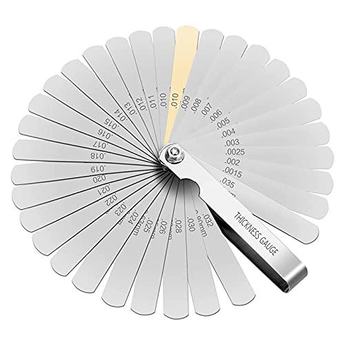 XTVTX Galgas reglaje valvulas, Galgas de espesor, Galga de Acero de 32 Cuchillas Métrica Marcada y Herramienta de Medición Imperial Gap
