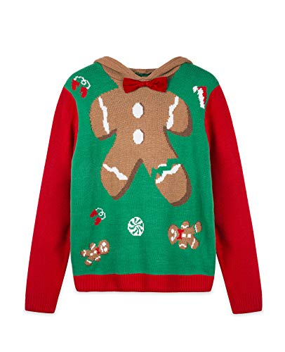 QUALFORT Suéter de Navidad para Mujer Suéteres de Navidad Bonitos Hombre de Pan de Jengibre Rojo Grande